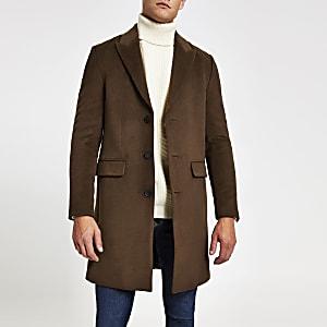 Einreihiger, klassischer Mantel in Dunkelbraun
