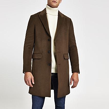 Dark brown single breasted overcoat