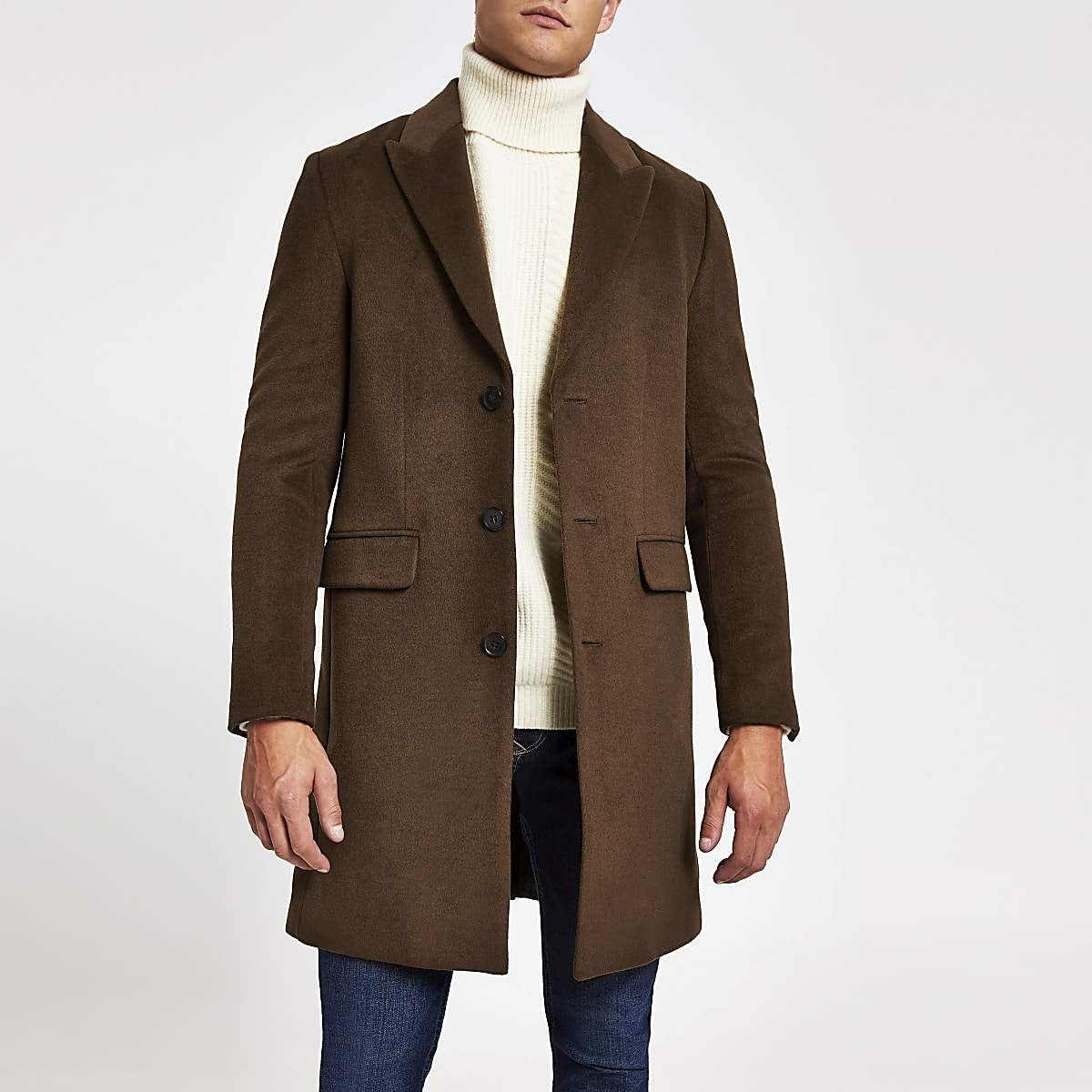 Dark brown single breasted overcoat