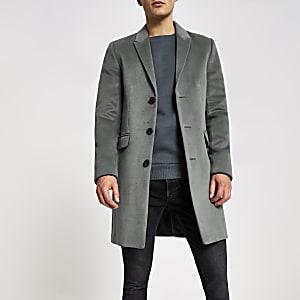 Manteau droit vert