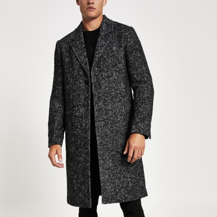 Grey Herringbone wool overcoat