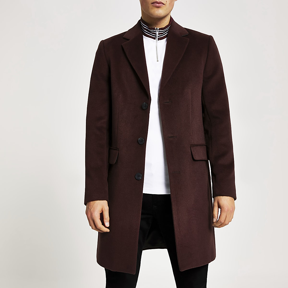 Dark red single breasted overcoat