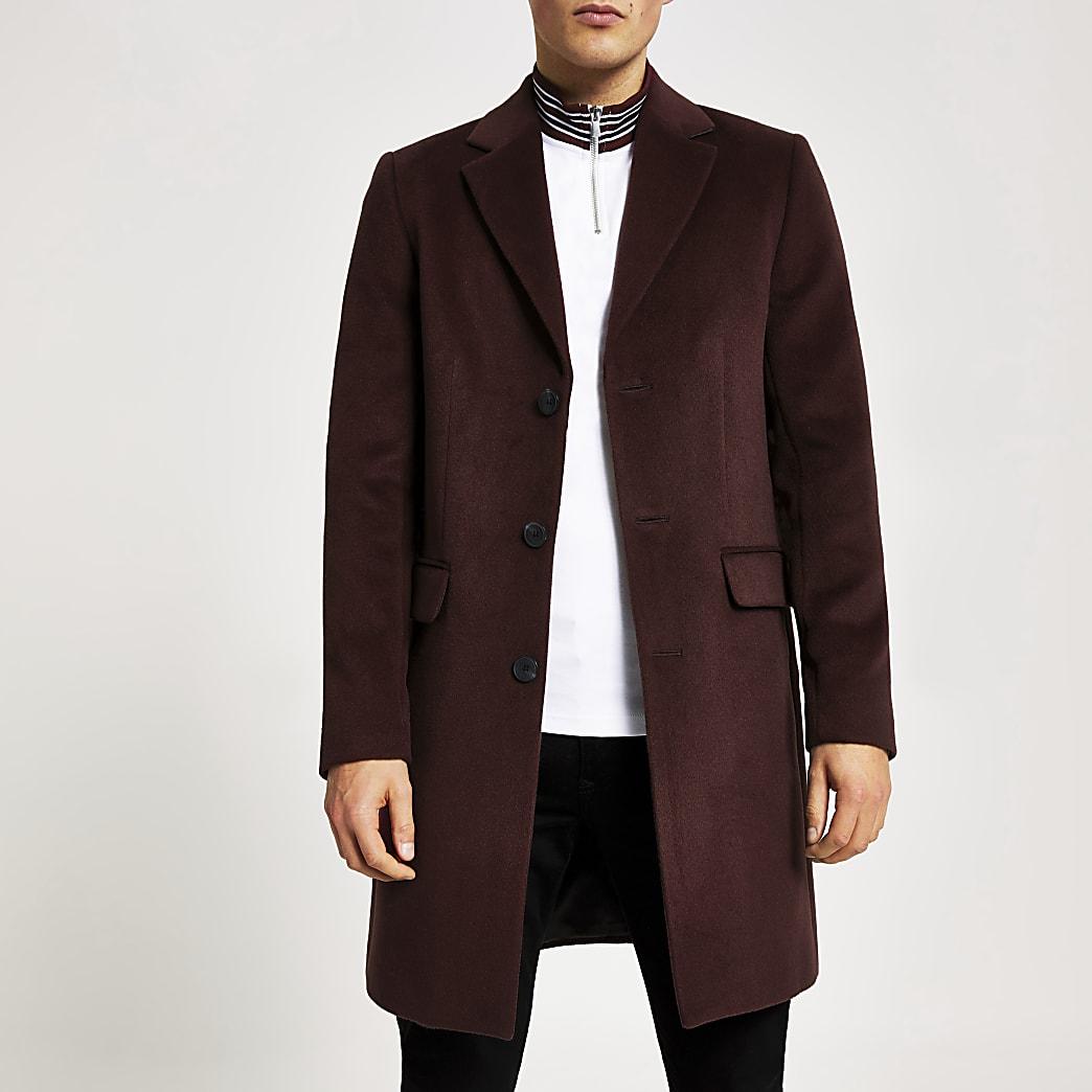 Dark red single breasted overcoat