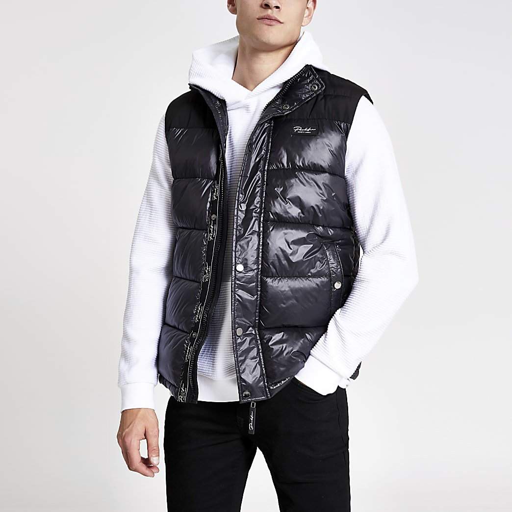 Prolific black high shine padded gilet