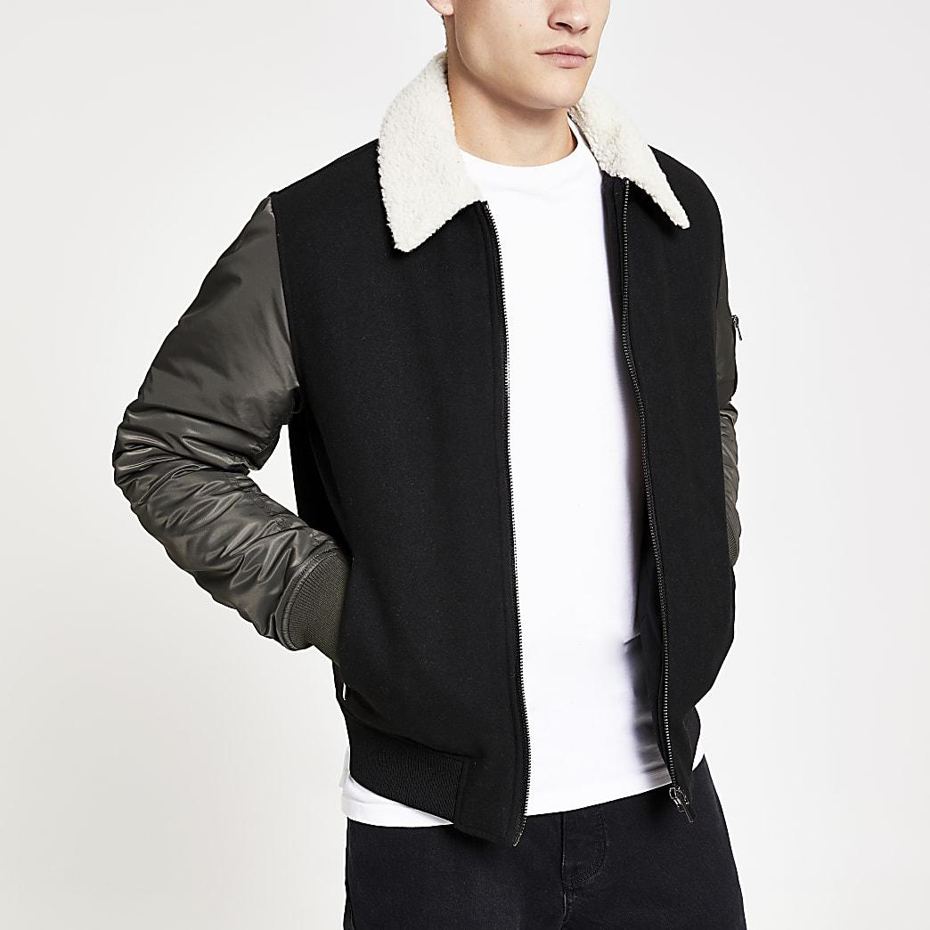 Black and khaki borg collar flight jacket