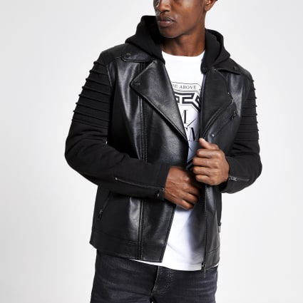 Black faux leather jersey hood biker jacket