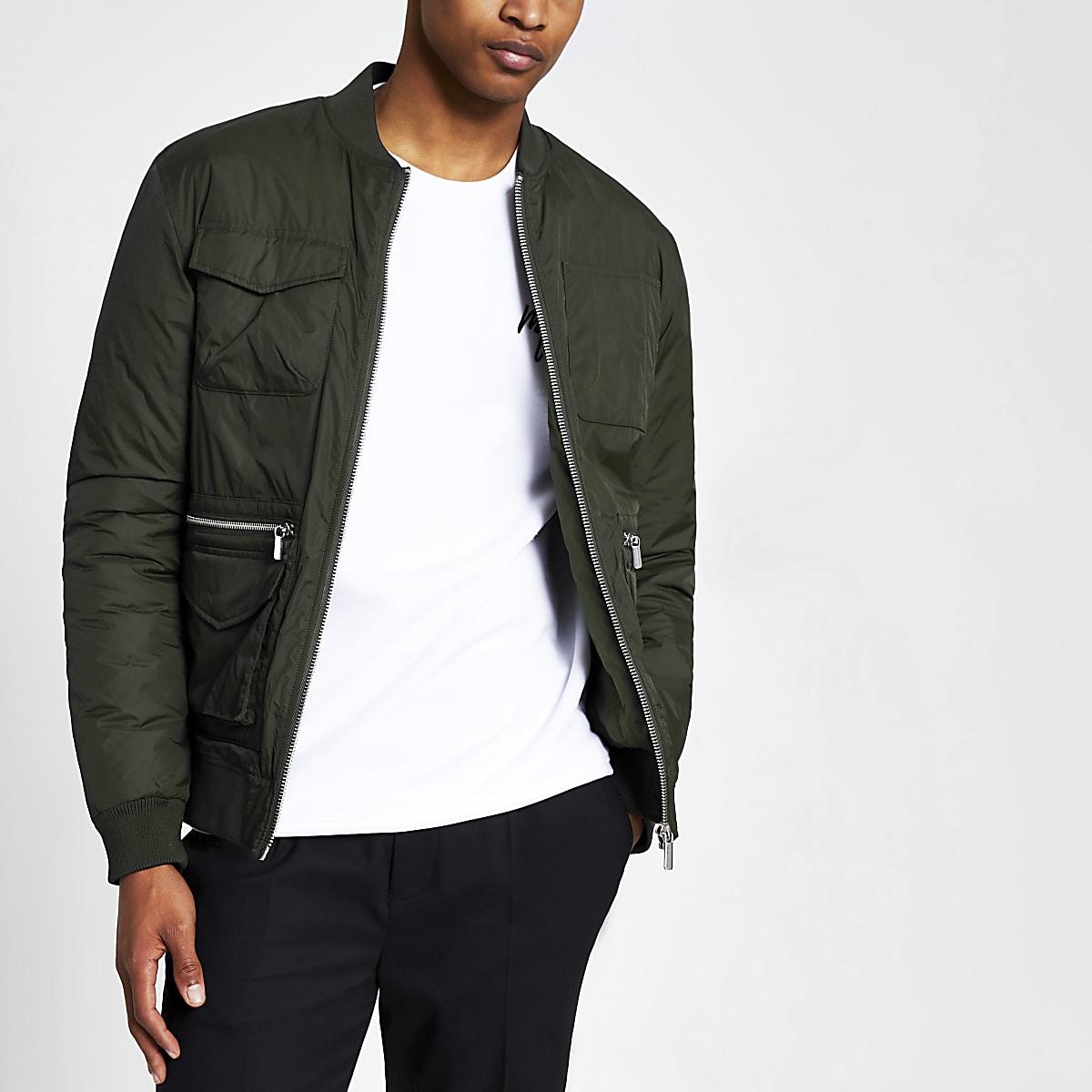 Khaki utility bomber jacket