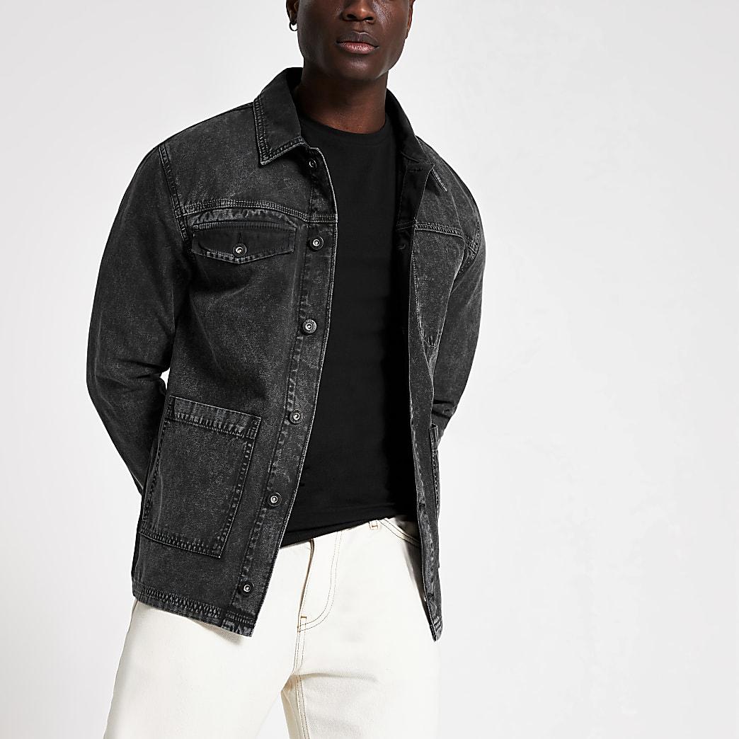 Zwarte wash denim jacket met utilityzak