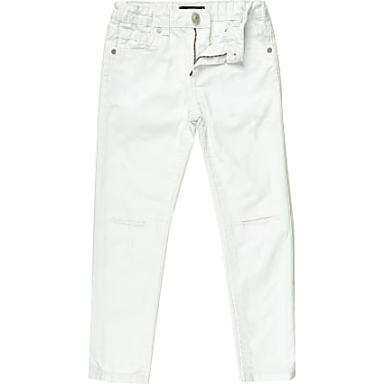 Boys white distressed Dean straight jeans