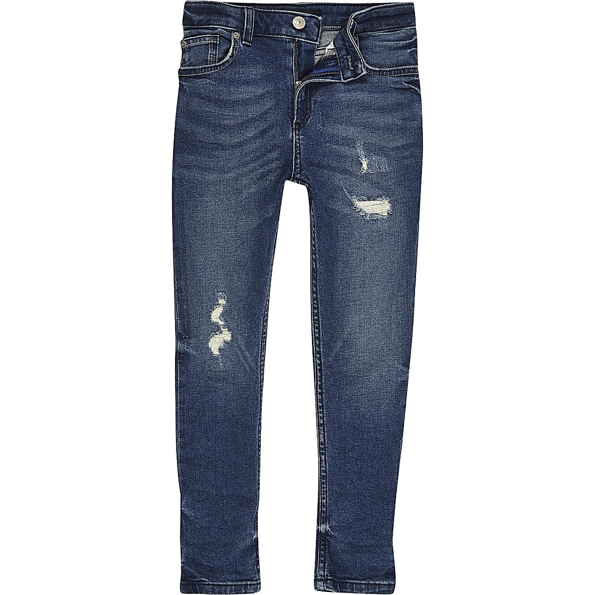 Sid middenblauwe distressed skinny jeans voor jongens