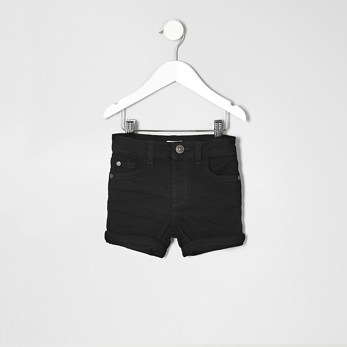 Mini boys black denim rolled hem shorts
