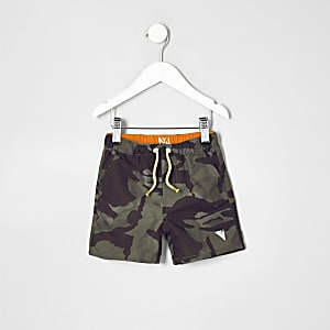Mini boys khaki green camo swim trunks