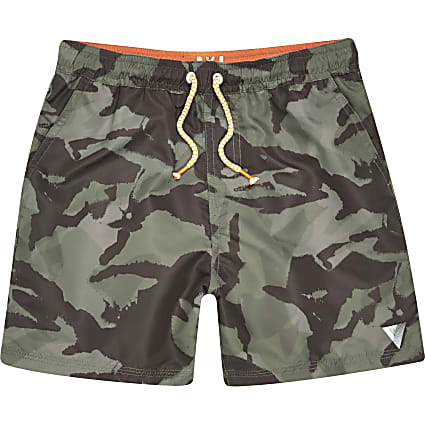 Boys khaki camo swim shorts