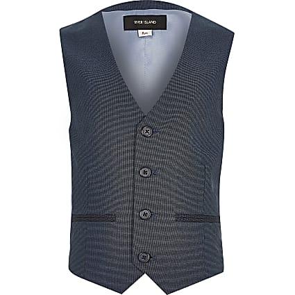 Boys petrol blue suit waistcoat