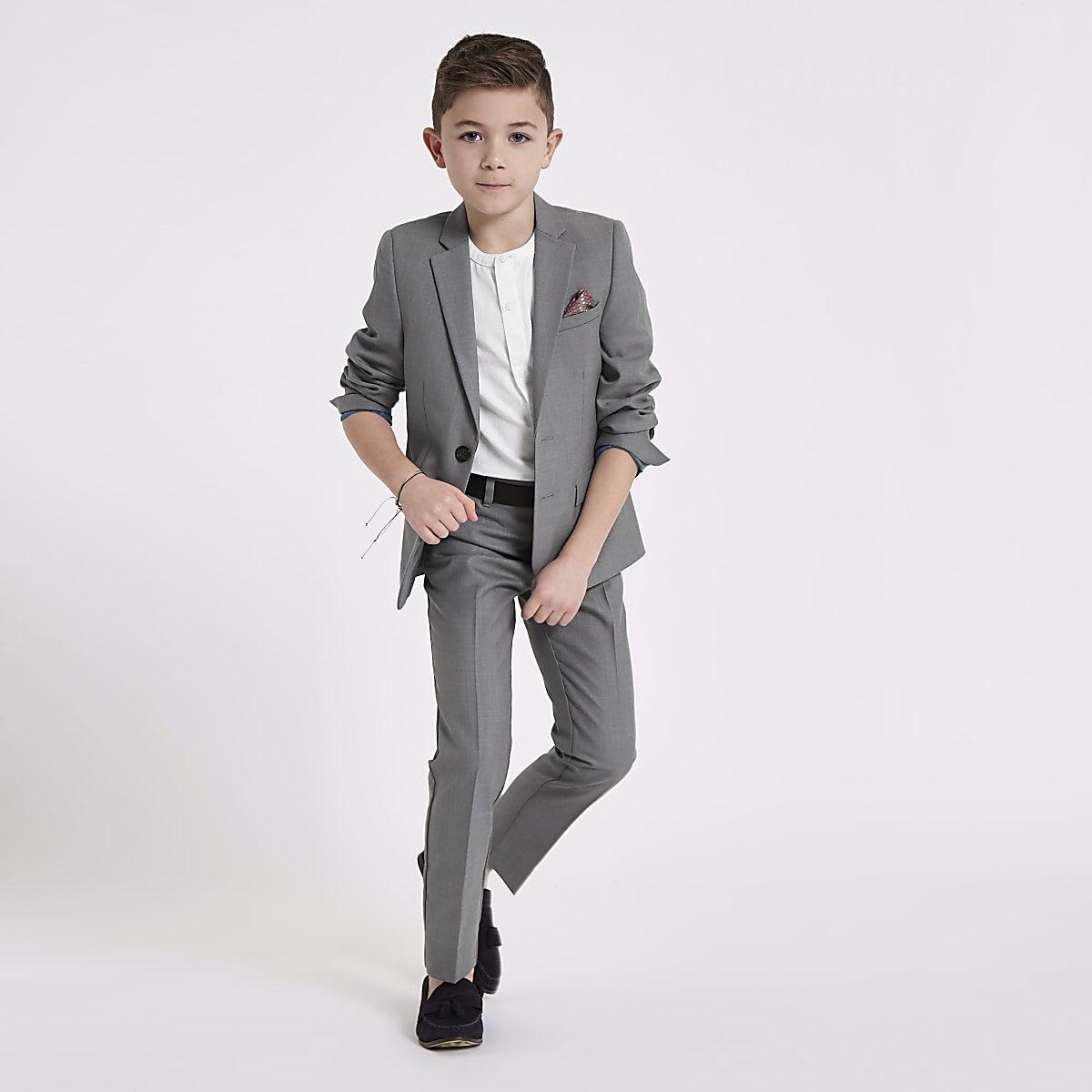 Veste de blazer grise pour garçon