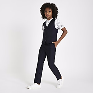 Boys navy suit vest