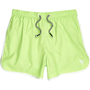 Boys fluro lime green runner swim trunks