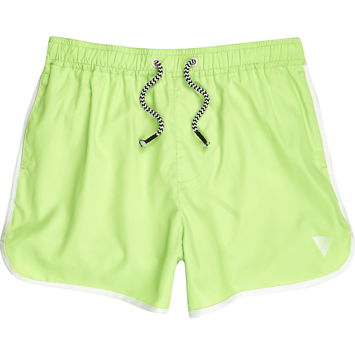 Boys fluro lime green runner swim shorts