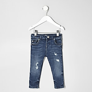 Sid - Middenblauwe distressed skinny jeans voor mini boys