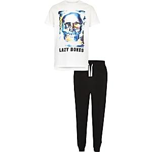 Boys white skull print pajama set