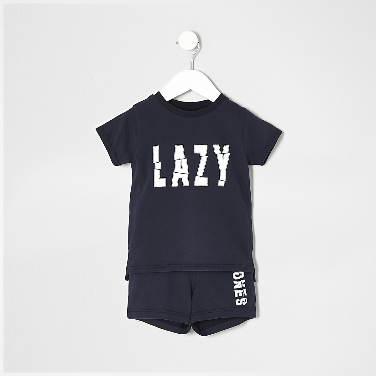 Mini boys navy 'lazy bones' pyjama set