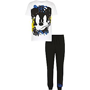 "Weißes Pyjama-Set ""Mickey Mouse"""