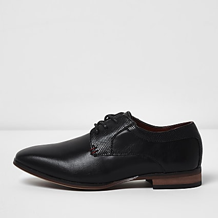 Boys black pointed brogue shoes