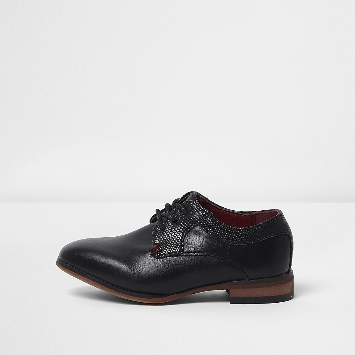 Mini boys black pointed brogue shoes