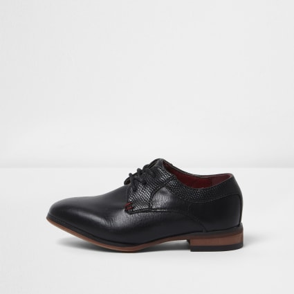 Mini boys black pointed brogue shoes