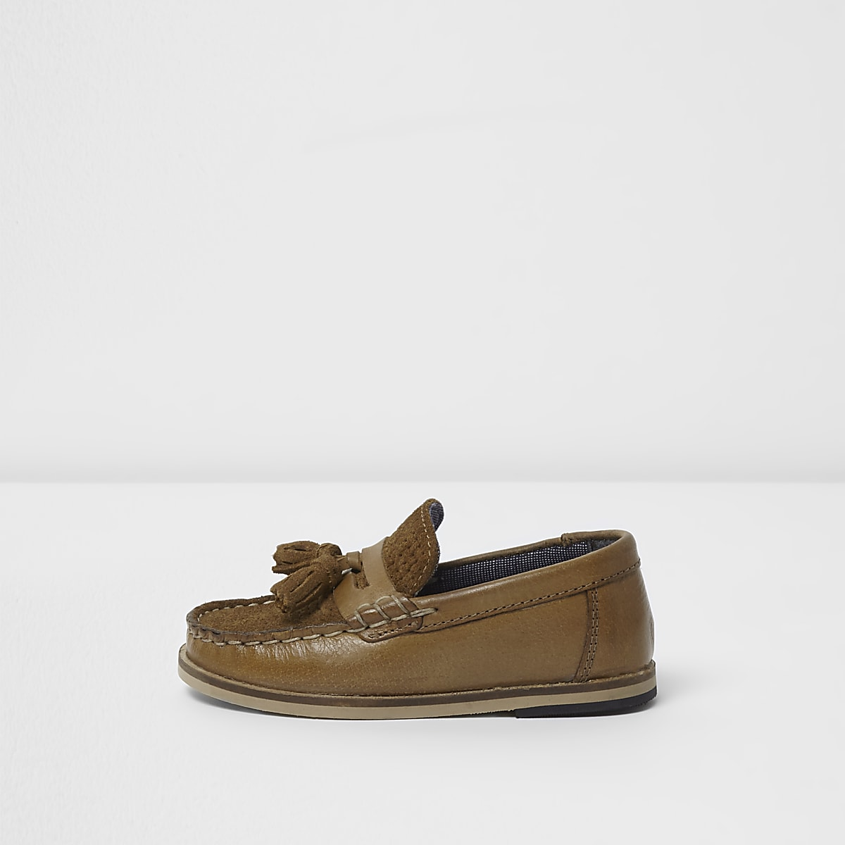 Mini boys tan tassel loafers