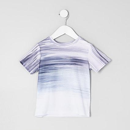 Mini boys purple glitch fade T-shirt