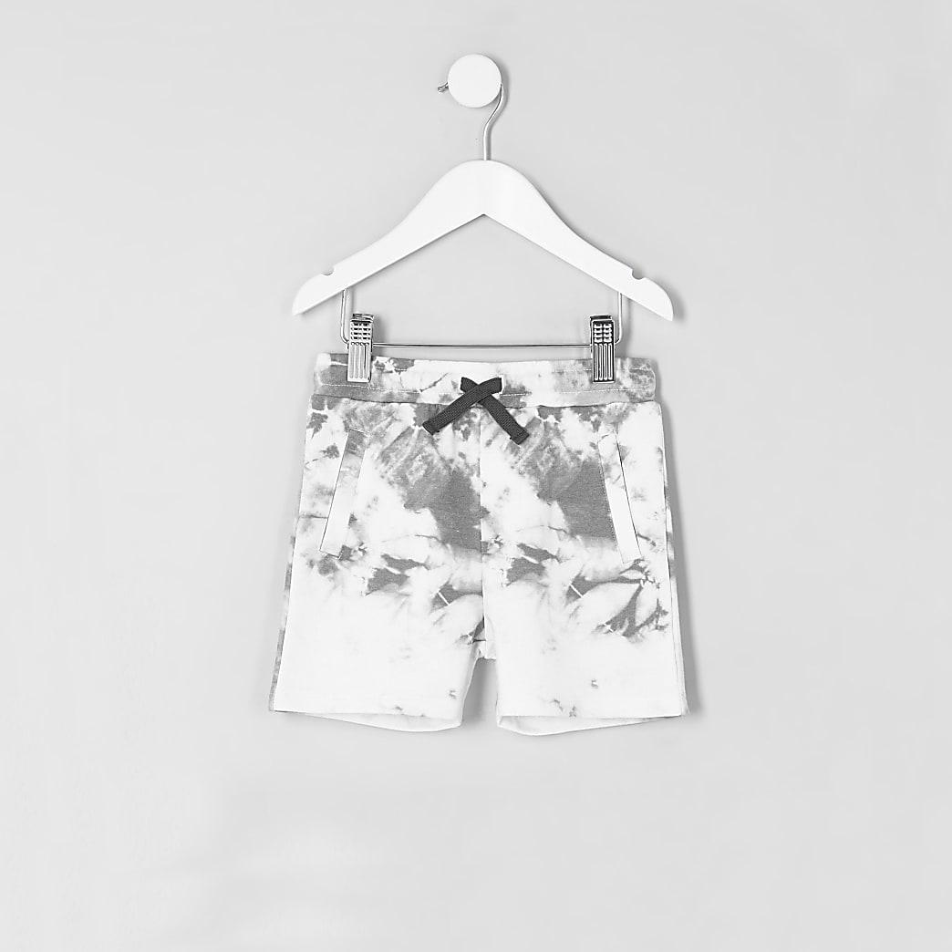 Mini boys white tie dye shorts