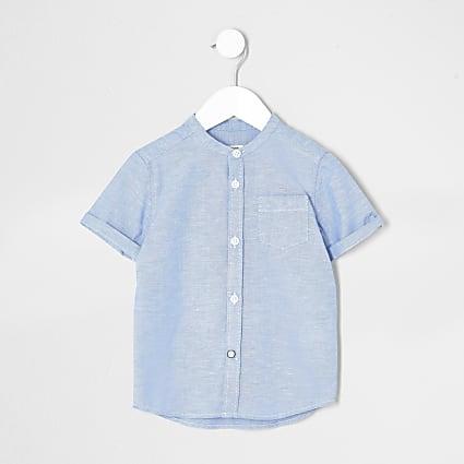 Mini boys blue short sleeve grandad shirt