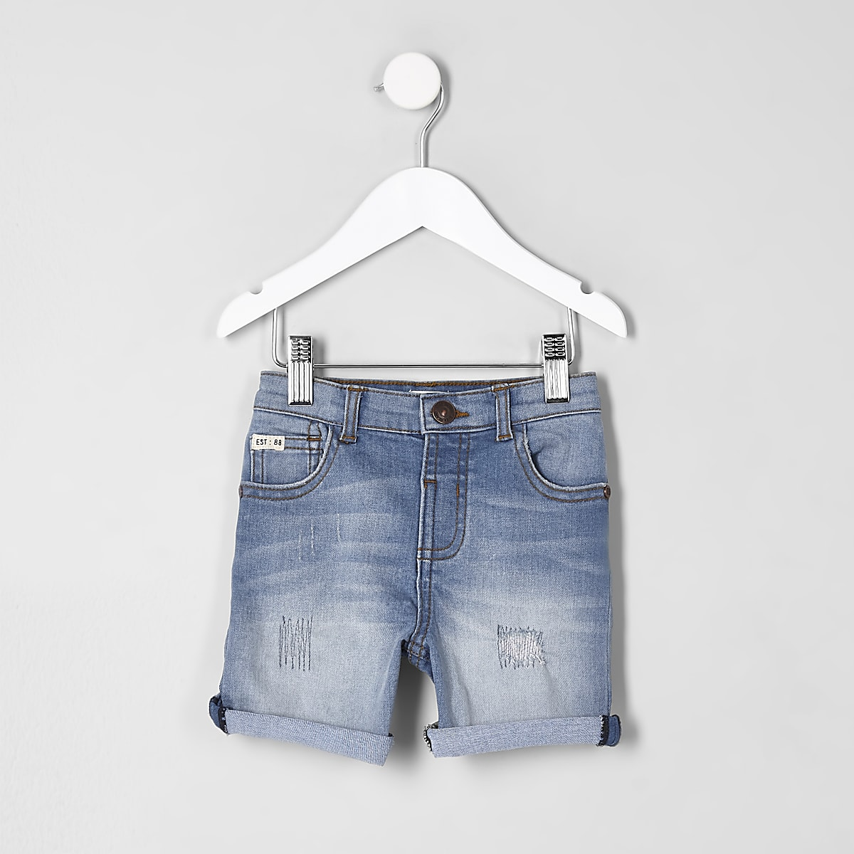 Mini boys blue ripped rolled hem denim shorts