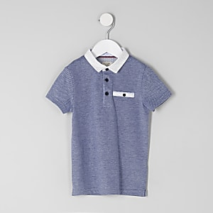 Mini boys navy textured polo shirt
