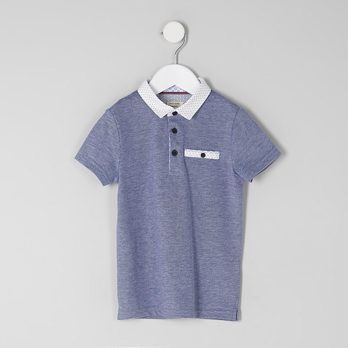 Polo bleu marine texturé mini garçon