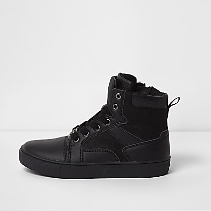 Boys black double tongue high top trainers