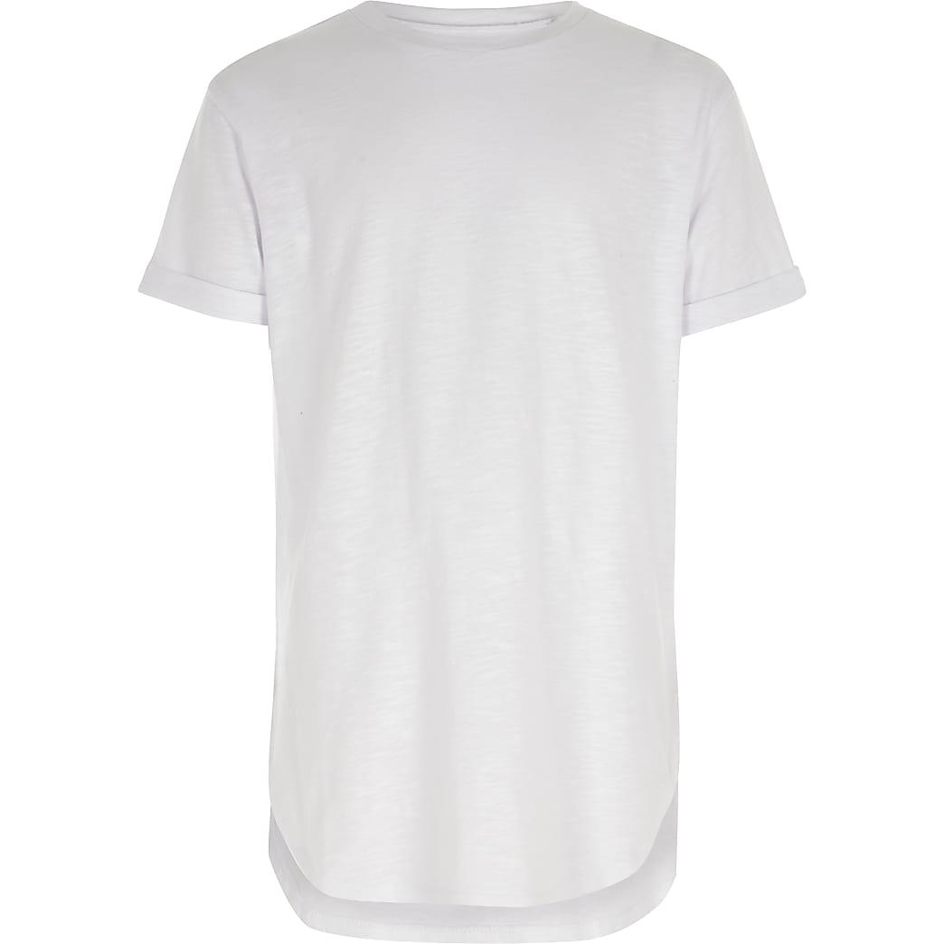 T-shirt manches courtes blanc à ourlet arrondi pour garçon