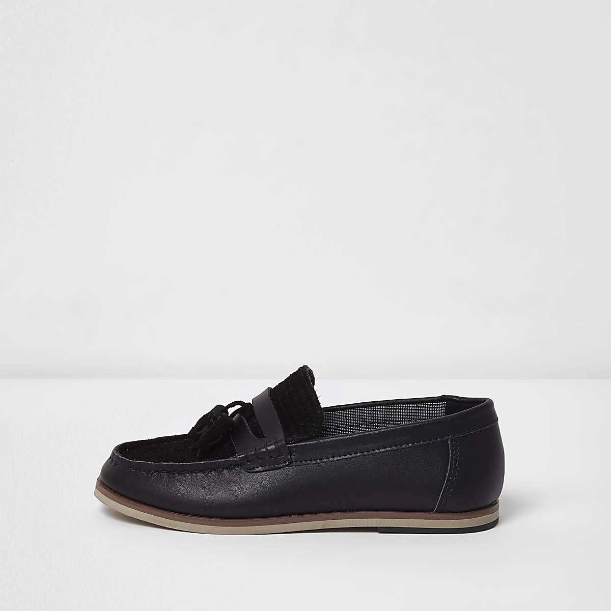 f78e14fa1999 Boys black leather and suede tassel loafers - Shoes - Footwear - boys