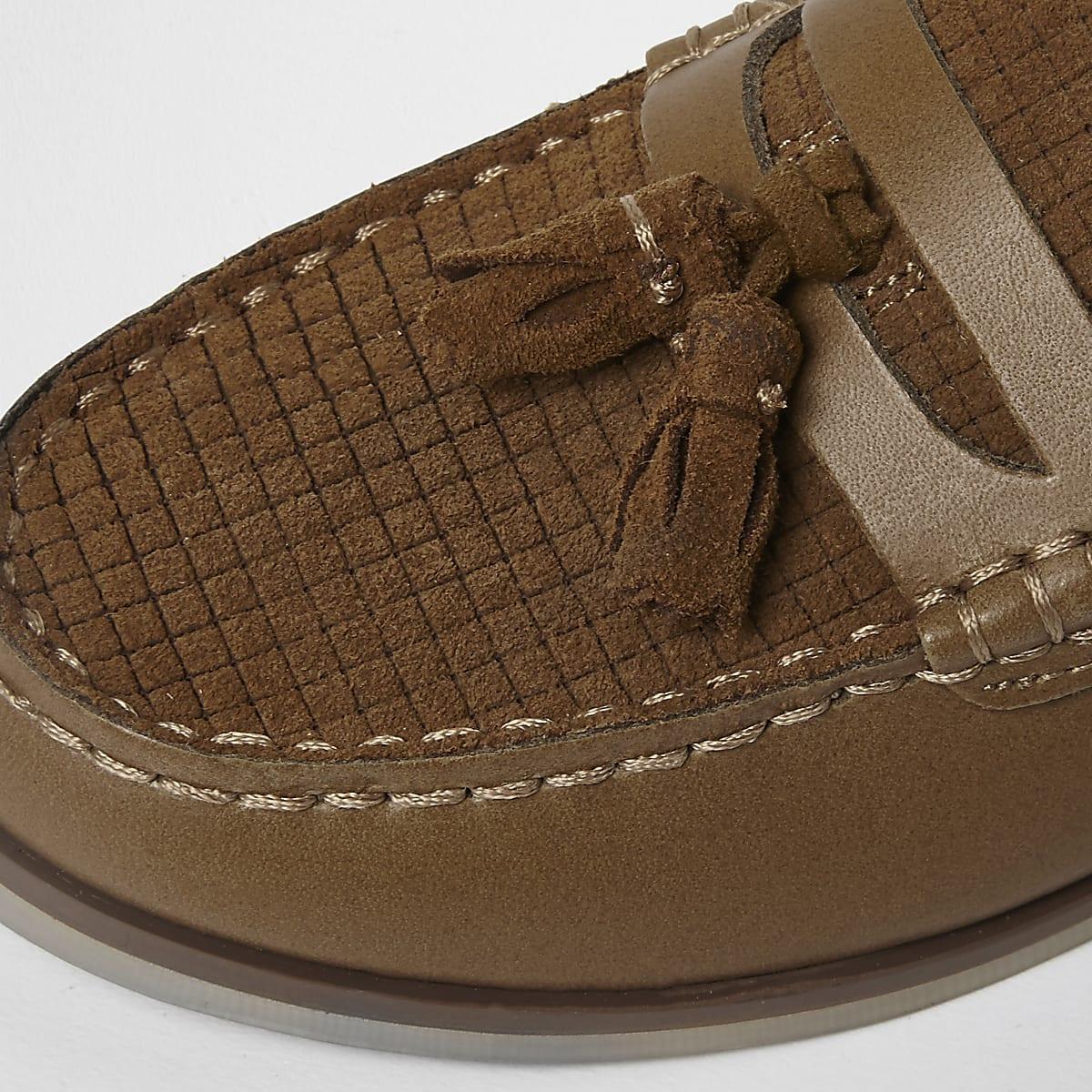 5de9a24da83 Boys tan leather and suede tassel loafers - Shoes - Footwear - boys