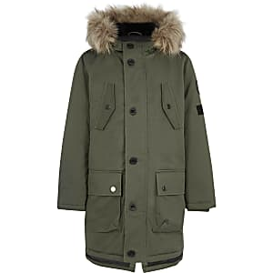 Boys khaki green faux fur hood parka