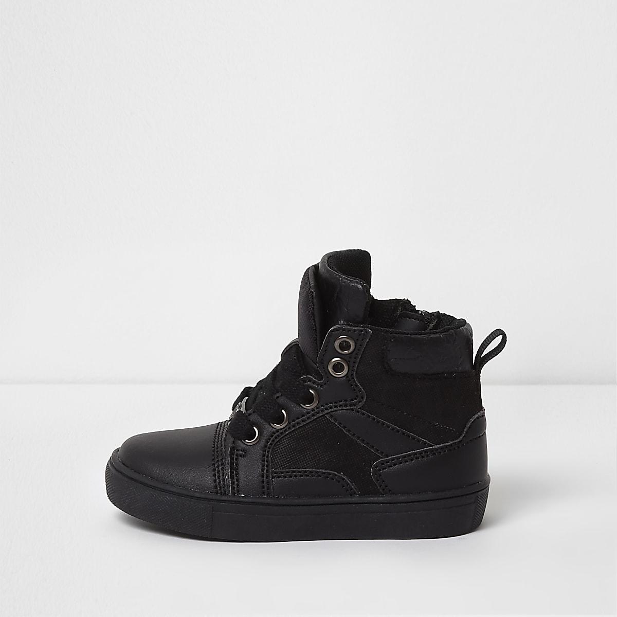 Mini boys black double high top sneakers