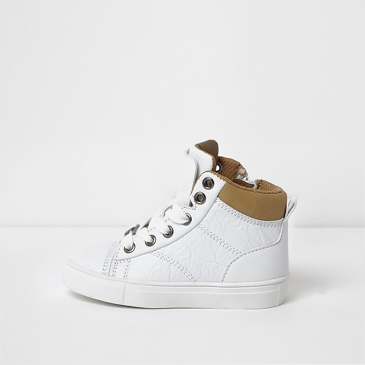 Mini boys white double high top trainers