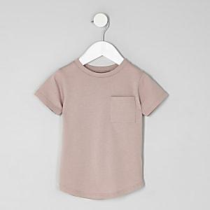 T-shirt rose à manches retroussées mini garçon
