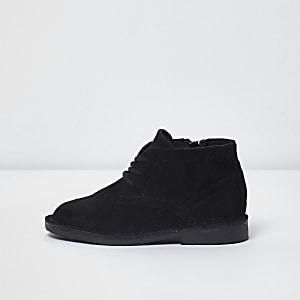Mini boys black faux suede desert boots
