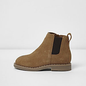 Mini boys tan faux suede chelsea boots