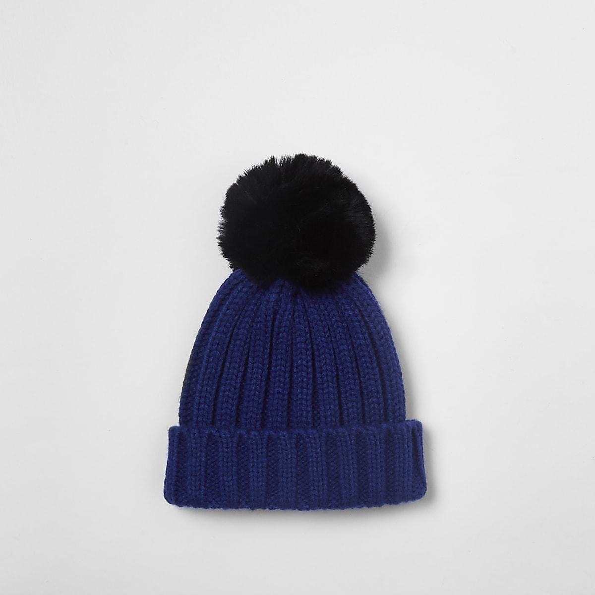 Bonnet bleu avec pompon en fausse fourrure mini garçon