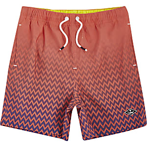 Boys coral fade print swim trunks