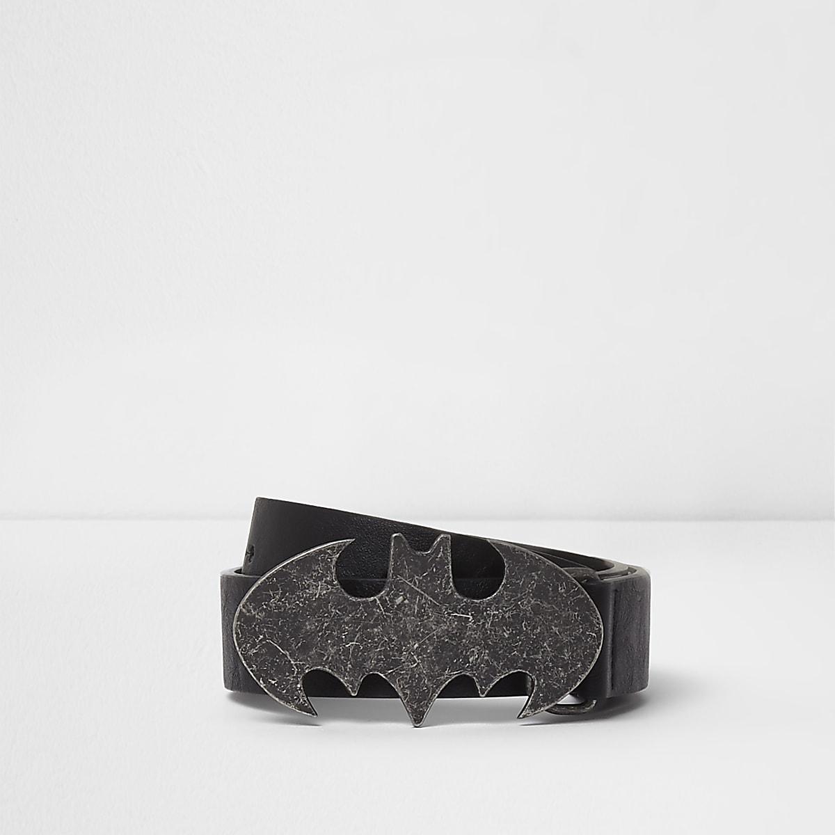 Boys black Batman pin and hole belt