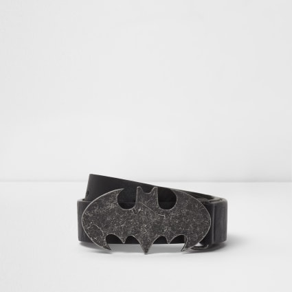 Boys black Batman pin and hole belt